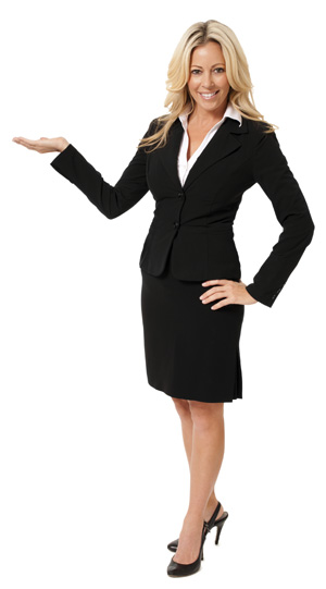 Confident Businesswoman Gesturing on White